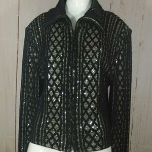 St. John Couture sequins black gold sweater jacket